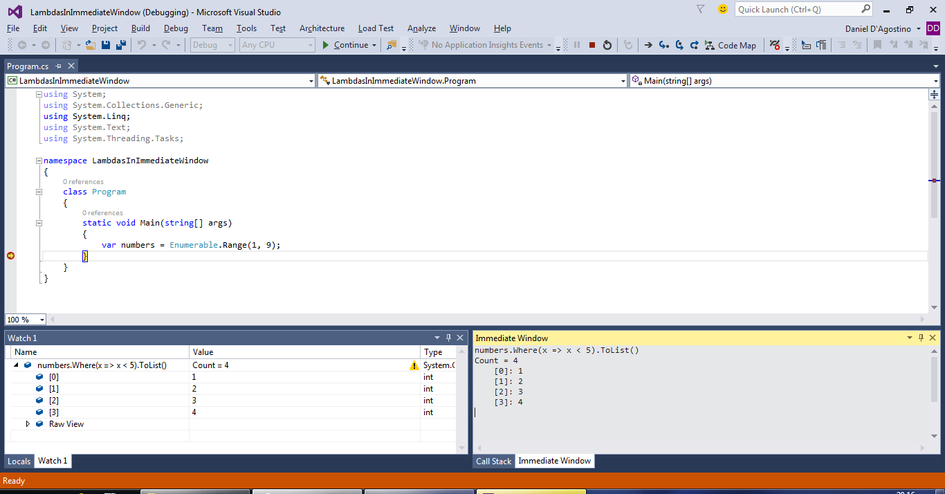 VS2015 Preview: Debugger support for lambdas and LINQ | Gigi