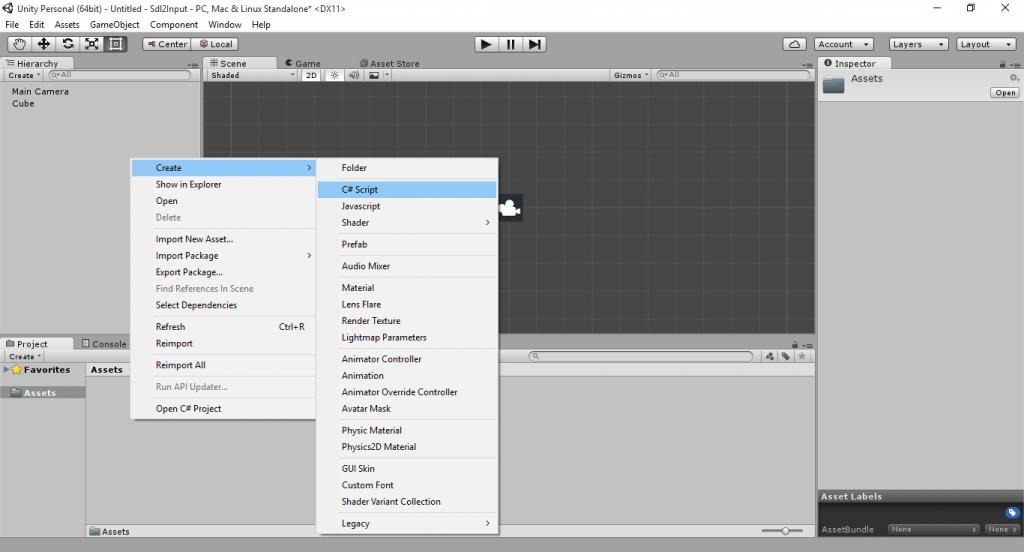 unity3d-input-create-cs-script